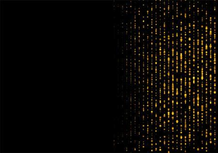 Gold dust falling flying sparkling confetti dots of vertical lines on a black background. Festive lights, golden garlands, tinsel decoration. Vector illustration EPS10 Illustration
