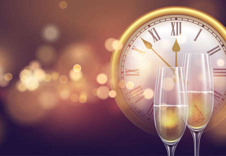 2021 New Year background with a clock and glasses of champagne and glowing bokeh light. Vector illustration EPS10 Illustration