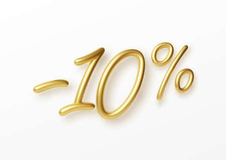 Realistic golden text 10 percent discount number. Vector illustration EPS10