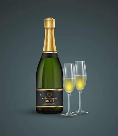 Realistic bottle and glasses of champagne isolated on a transparent background. Vector illustration EPS10 Illustration