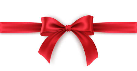 Red Bow and Ribbon on white background. Realistic red bow for decoration design Holiday frame, border. Vector illustration