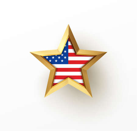 Golden realistic 3d star with American flag isolated on white background. Design element for patriotic American posters, cards. Vector illustration