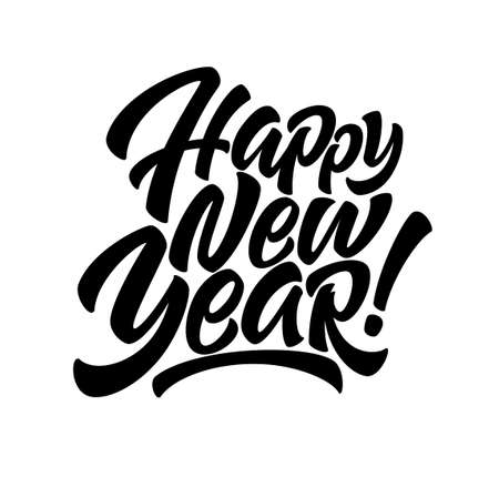 Handwriting inscription Happy New Year. Calligraphy New Year lettering. Design element for advertising poster, flyer, postcard. Vector illustration Illustration