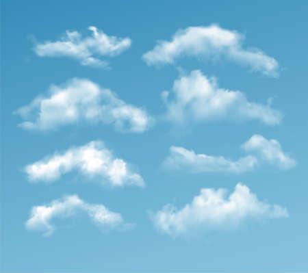 Set of transparent different clouds isolated on blue background. Real transparency effect. Vector illustration