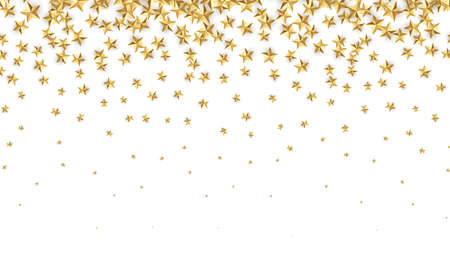 Gold stars. Falling gold foil confetti abstract decoration for party, birthday celebration, anniversary or event, festive. Festive decor. Vector illustration Illustration
