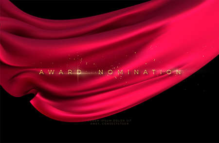 Award nomination ceremony with luxurious red flying silk wavy background with gold glitter and sparkle. Vector illustration