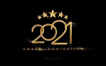 2021 Awarding the nomination ceremony luxury black wavy background with golden glitter sparkles. Vector background