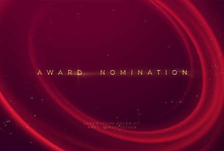 Award nomination ceremony with luxurious red wavy background with gold glitter and sparkle. Vector illustration