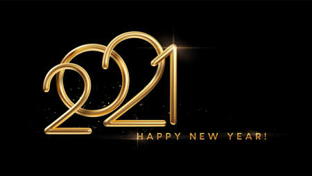 Realistic gold metal inscription 2021. Gold calligraphy New Year lettering on the black background. Design element for advertising poster, flyer, postcard. Vector illustration