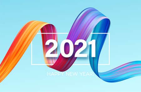 Colorful Brushstroke paint lettering calligraphy of 2021 Happy New Year background. Color flow background. Vector illustration Illustration