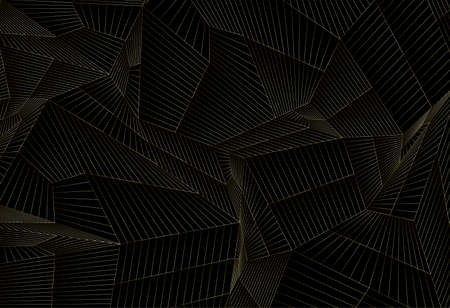 Luxury background with golden geometric lines mesh on black background. Vector illustration