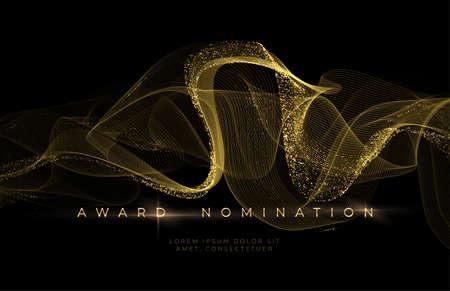 Awards ceremony Luxurious black background with golden glitter waves. Award Nomination Background. Vector illustration