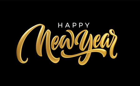 Happy New Year. Realistic golden metal lettering isolated on black background. Vector illustration