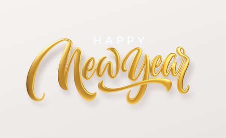 Happy New Year. Realistic golden metal lettering isolated on white background. Vector illustration