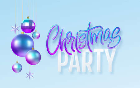 Christmas party calligraphy lettering greeting card with blue golden metallic christmas decorations isolated on blue background. Vector illustration