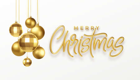 Christmas party calligraphy lettering greeting card with golden metallic christmas decorations isolated on white background. Vector illustration Illustration