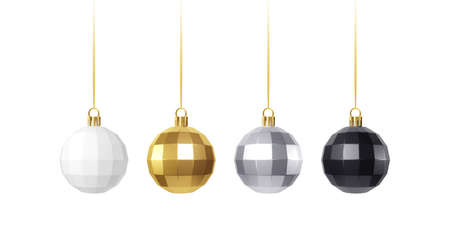 Set of golden, white, siver and black realistic christmas decorations isolated on white background. Vector illustration Illustration
