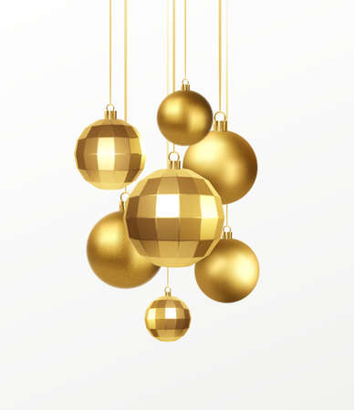 Set of golden realistic christmas decorations isolated on white background. Vector illustration