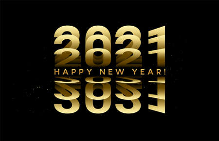 2021 golden numbers lettering from turning pages of paper. Vector illustration