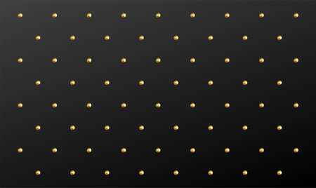 Polka Dot pattern of realistic golden spheres on black background. Vector illustration Illustration