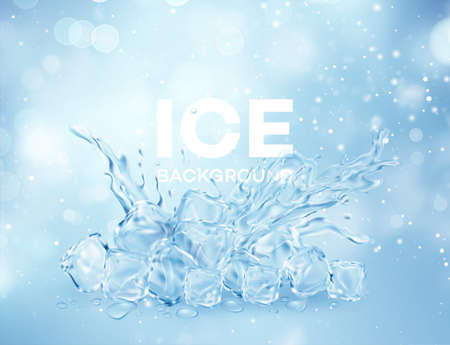 Group of ice transparent clear cubes in water crown splash isolated on light blue transparent background. Vector illustration