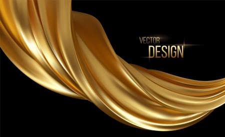 Gold 3d wave on black background. Abstract motion Modern illustration. Luxury Golden Color flow background. Abstract dynamic 3d flow effect. Vector illustration Ilustração