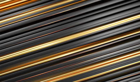 Gold black line 3d modern style background. Striped Abstract minimal geometry concept. Vector illustration