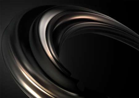 Abstract background with black gold 3d wave on black background for concept design. Realistic metalic swirl Wave flow. Vector illustration Ilustração