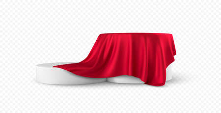 Realistic 3d round white product podium display covered red fabric drapery folds isolated on white background. Vector illustration Vetores