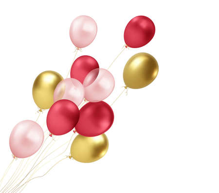 Realistic gold, red, pink balloons flying isolated on white background. Design element for greeting anniversary poster, postcard. Vector illustration