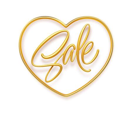 3d realistic golden inscription Sale in a heart shape frame. Design element for Happy Valentines Day sale poster, flyer, card. Vector illustration