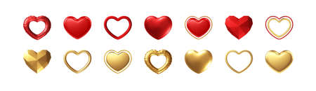 Big Valentines Day Set of different realistic gold, red hearts isolated on white background. Happy Valentines Day elements for design poster, postcard, flyer. Vector illustration