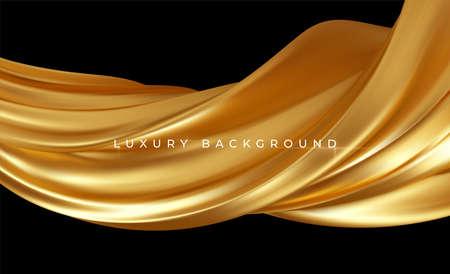 Gold metallic silk flowing wave luxury trendy background. Background for presentation, brochure, booklet, poster. Vector illustration