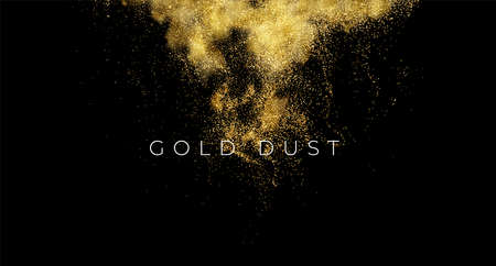 Gold sequins glitter dust isolated on black background. Vector illustration