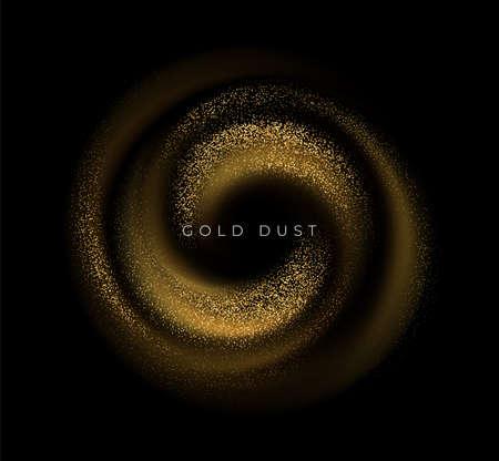 Gold sequins glitter dust swirl isolated on black background. Vector illustration