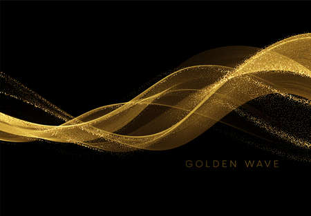 Golden flowing wave with sequins glitter dust isolated on black background. Vector illustration