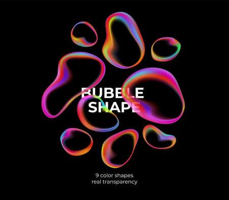 Full color trendy transparent bubbles on black background. Vector illustration Stock Illustratie