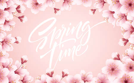 Spring time beautiful background with spring blooming cherry blossoms. Sakura branch with flying petals. Vector illustration