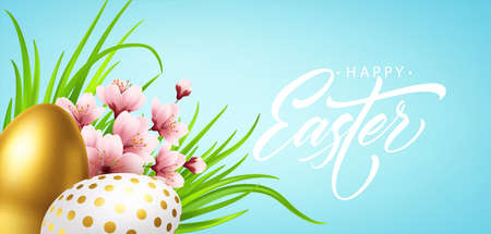 Happy easter greeting background with realistic easter eggs and spring flowers. Vector illustration Stock Illustratie