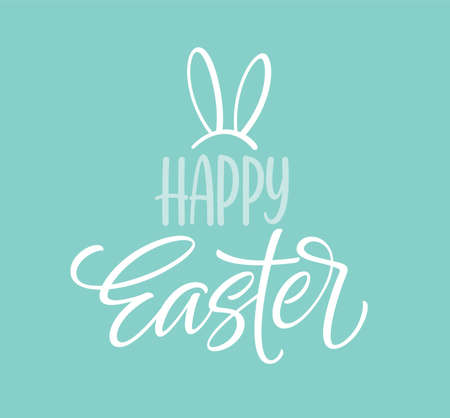 Happy Easter icon symbol. Handwriting lettering with rabbit ears. Vector illustration