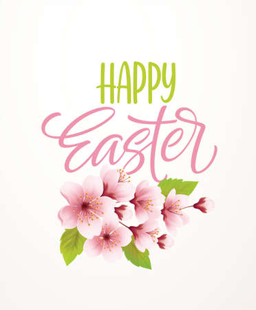 Happy Easter handwriting lettering on background with blooming spring cherry branch. Vector illustration
