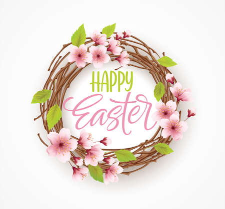 Happy Easter greeting background with wreath with spring flowers. Vector illustration