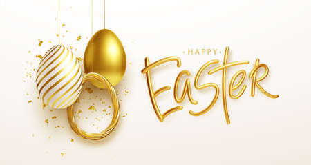 Easter greeting background with realistic golden Easter eggs. Vector illustration Stock Illustratie