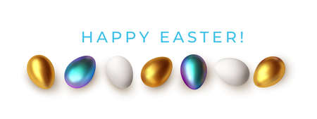 Easter greeting background with realistic golden, blue, white Easter eggs. Vector illustration Stock Illustratie