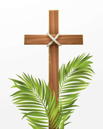 Christian Cross. Congratulations on Palm Sunday, Easter and the Resurrection of Christ. Vector illustration Stock Illustratie