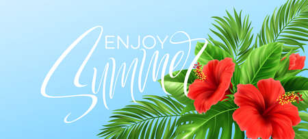 Tropical summer background. Tropical palm leaves, monstera with hibiscus flowers and Summer lettering. Vector illustration