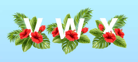 V W X letters surrounded by summer tropical leaves and red hibiscus flowers. Tropical font for summer decoration. Vector illustration