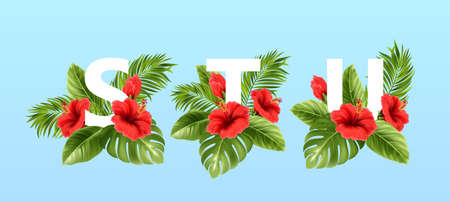 S T U letters surrounded by summer tropical leaves and red hibiscus flowers. Tropical font for summer decoration. Vector illustration Stock Illustratie
