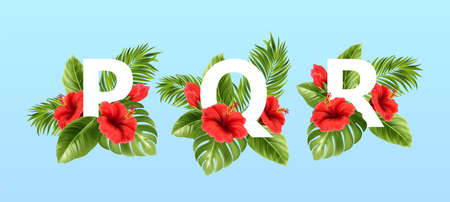 P Q R letters surrounded by summer tropical leaves and red hibiscus flowers. Tropical font for summer decoration. Vector illustration Stock Illustratie