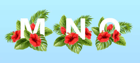 M N O letters surrounded by summer tropical leaves and red hibiscus flowers. Tropical font for summer decoration. Vector illustration Stock Illustratie